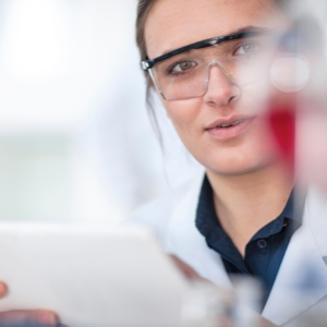 Researcher doing work in a lab