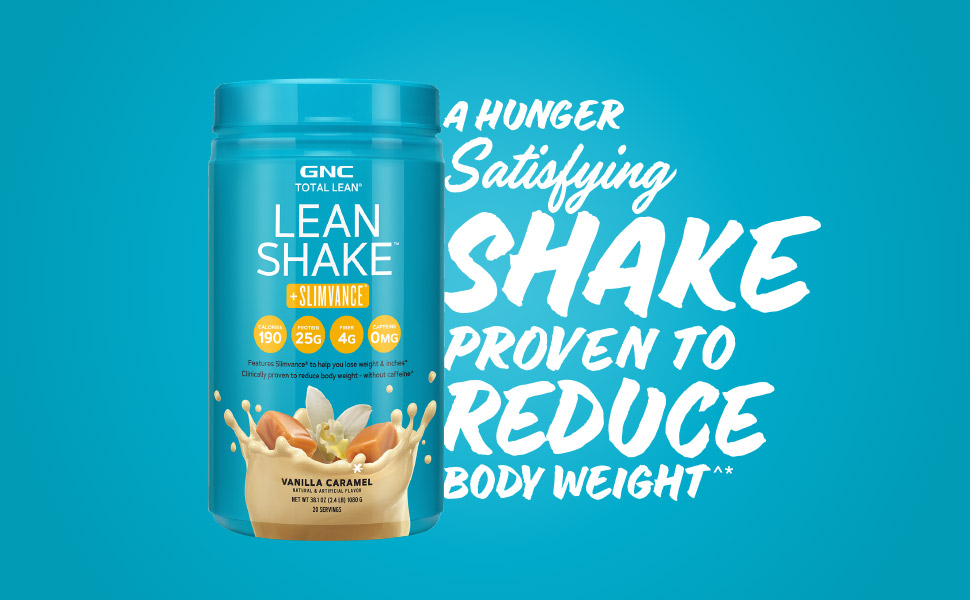 Hunger satisfying shake proven to reduce body weight. Lean Shake + Slimvance Vanilla Caramel product
