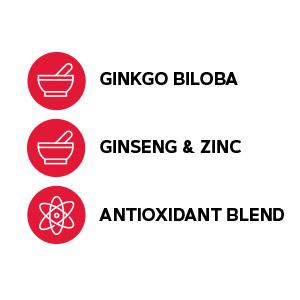 Includes ginkgo biloba, ginseng and zinc, as well as an antioxidant blend