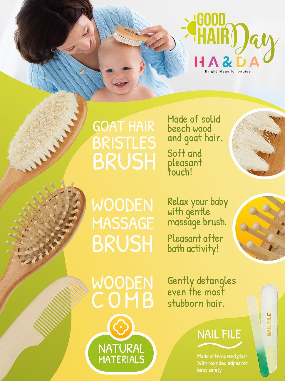 Amazon.com: 4 piezas Natural Pelo Peine y cepillo para polvo ...