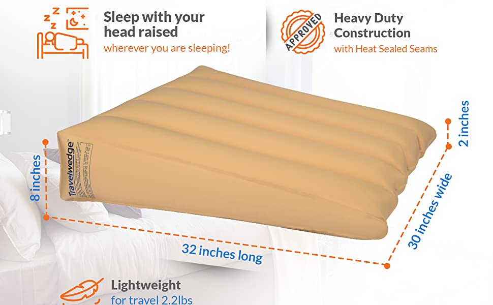 inflatable wedge pillow, inflatable bed wedge, reflux wedge, sleep with head raised, bed wedge