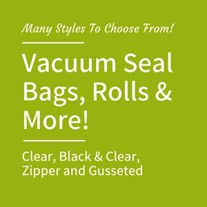 vacuum seal bags styles rolls clear black zipper gusseted food storage saver