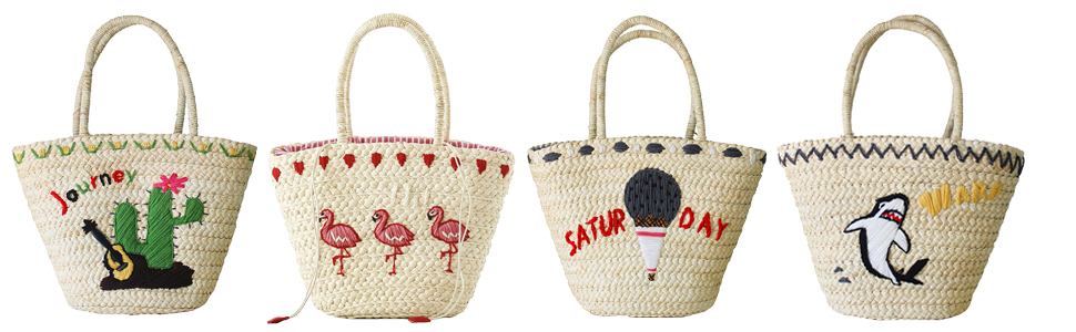 9a58540ecd Amazon.com  Straw Bags Cute Embroidered Straw Purses Summer Tote ...