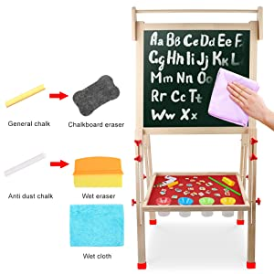 numbers - Kids Wooden Art Easel Double-Sided Whiteboard And Chalkboard Adjustable Standing Easel With Paper Roll Holder,Letters And Numbers Magnets And Other Accessories Gift For Kids Toddlers Boys And Girls