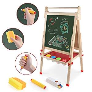 art erasel - Kids Wooden Art Easel Double-Sided Whiteboard And Chalkboard Adjustable Standing Easel With Paper Roll Holder,Letters And Numbers Magnets And Other Accessories Gift For Kids Toddlers Boys And Girls