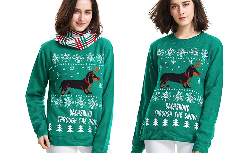 Festive Dachshunds In Christmas Jumpers Bunting 1 Meter