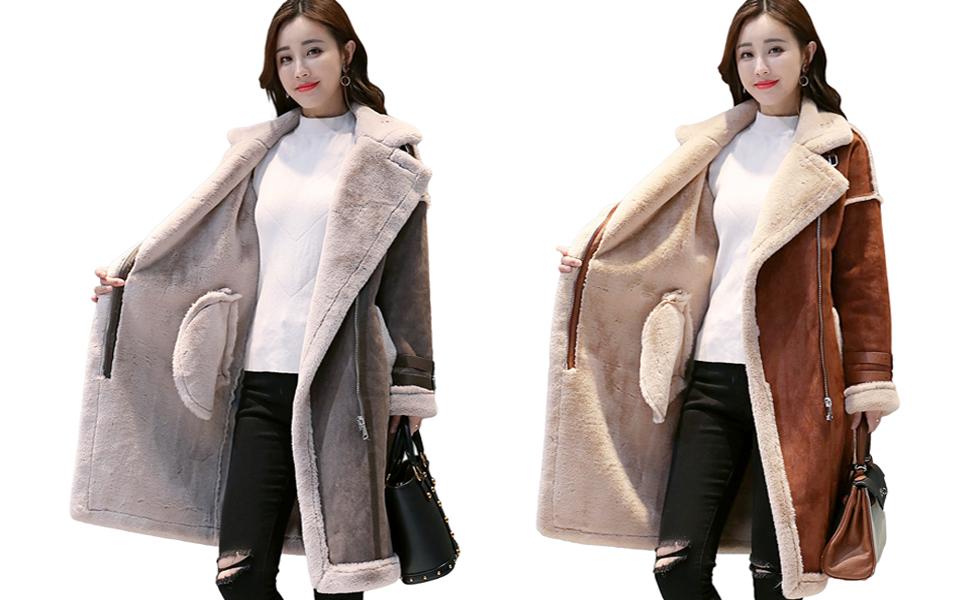 Womens PU Leather Long Coat fur lining Jackets Winter warm Parka Outwear
