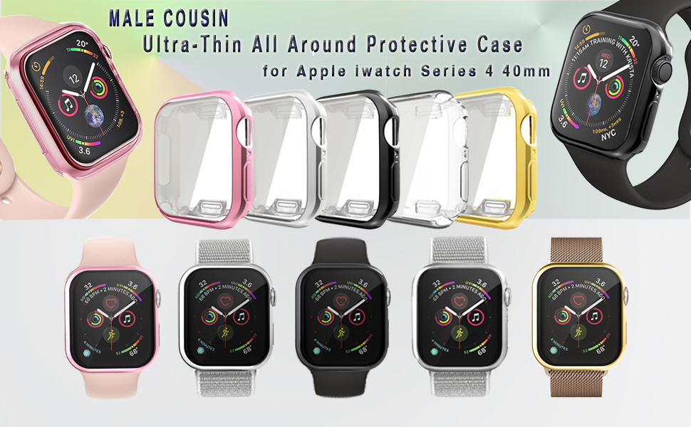 Compatible with Apple Watch Series 5/4 Case 40mm with Buit in TPU Screen Protector, 2 Pack All Around Protective Cases Ultra-Thin Cover Compatible for ...