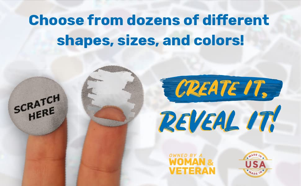 Round, silver scratch-off stickers stuck on 2 fingers with text: Create It, Reveal It!