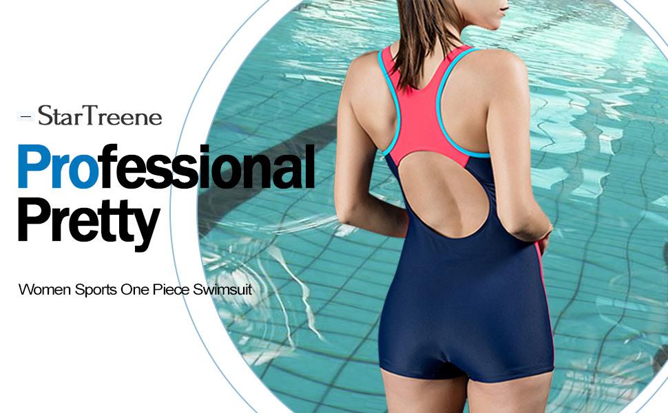f5cf0cdf0 Amazon.com  StarTreene Women s One Piece Swimsuits Boyleg Sports ...