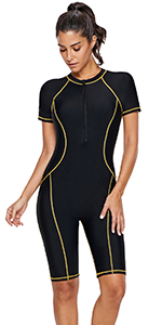 Short sleeves one piece swimsuit