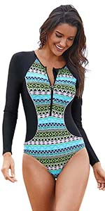 Sexy one piece long sleeve swimsuit