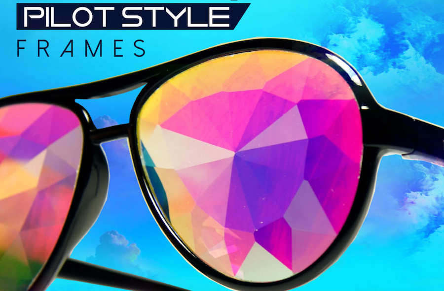 b2656f746b18 GloFX Aviator Style Kaleidoscope Glasses - Black Rainbow Lenses ...