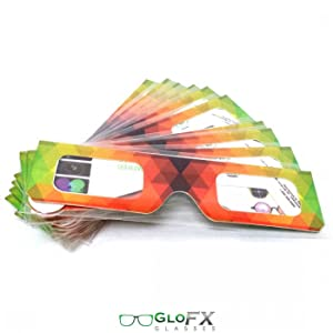 GloFX Paper Cardboard Diffraction Glasses Geometric Rainbow 100 Paper Stock