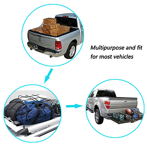 for Pickup Truck Bed and SUV Rooftop Travel Luggage Rack et 4mm Cord DogXiong 3x4 to 6x8 Pickup Heavy Duty Bungee Cargo Net with 12 Nylon Hooks 3.2 x 3.2 Tight Mesh