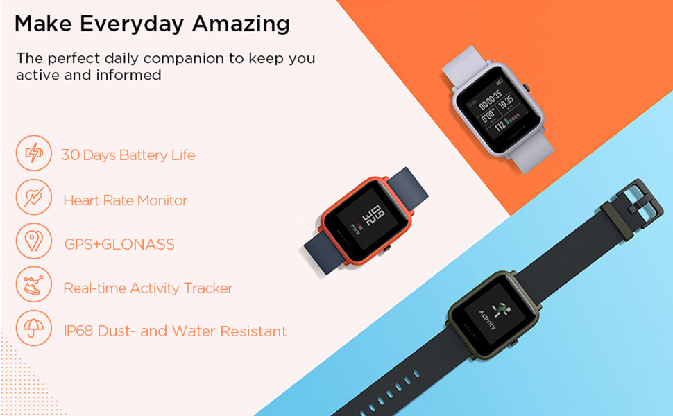 Amazfit Bip Smartwatch by Huami with All-Day Heart Rate and Activity  Tracking, Sleep Monitoring, GPS, Ultra-Long Battery Life, Bluetooth, US  Service