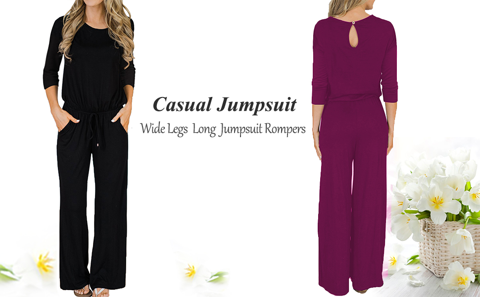 c12b5e97887 MIHOLL Women s Loose Jumpsuit Casual 3 4 Sleeve Wide Legs Long Jumpsuit  Rompers