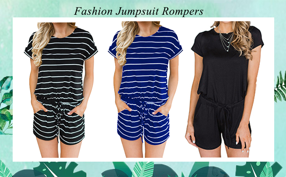 f12e7db14c56 MIHOLL Women s Summer Striped Jumpsuit Casual Loose Short Sleeve Jumpsuit  Rompers