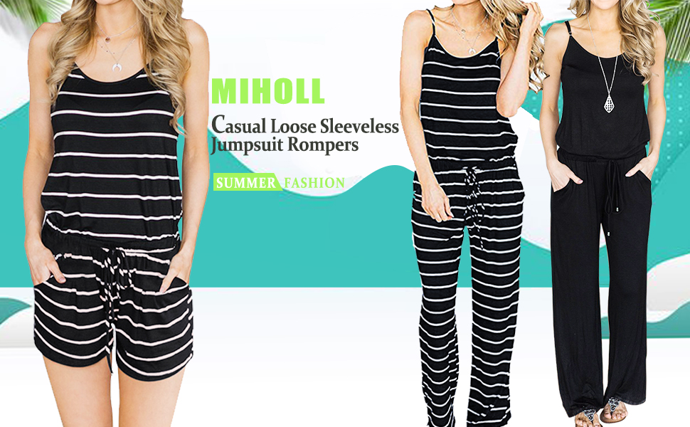35666e29e672 MIHOLL Women s Summer Striped Jumpsuit Casual Loose Sleeveless Jumpsuit  Rompers