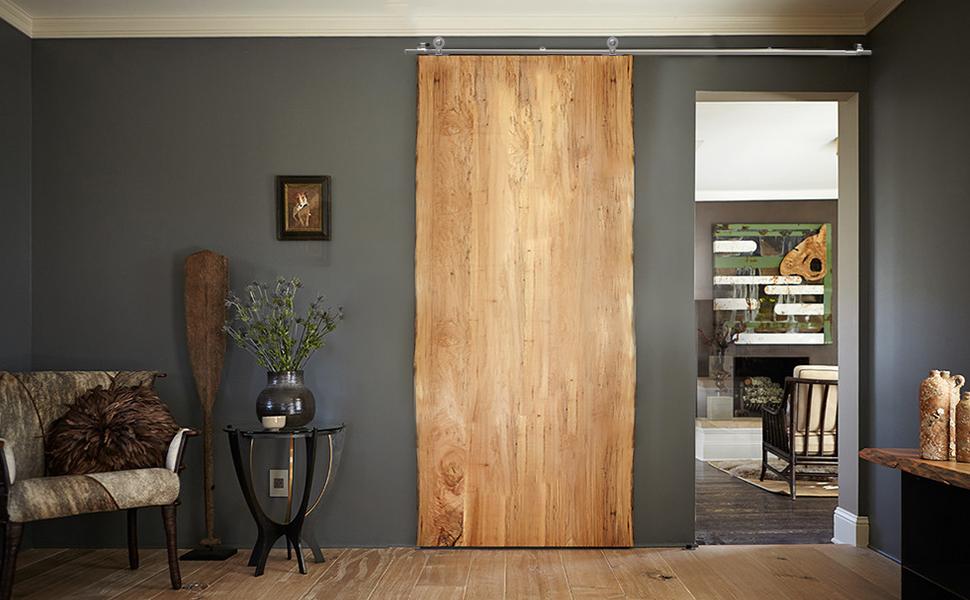 CCJH 7 FT Stainless Steel Sliding Door Hardware Kit Round Style Fit 42 Wide Door Panel Wooden and Glass Door Hardware for One Door