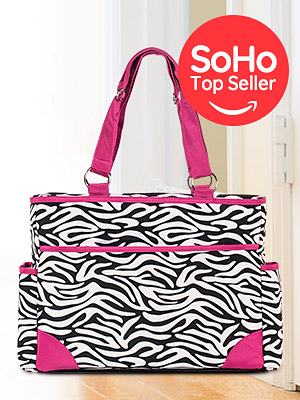 Amazon.com: SoHo bolsa de pañales rosa zebra 7 piezas ...