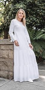 ModWhite Camellia White Temple Dress