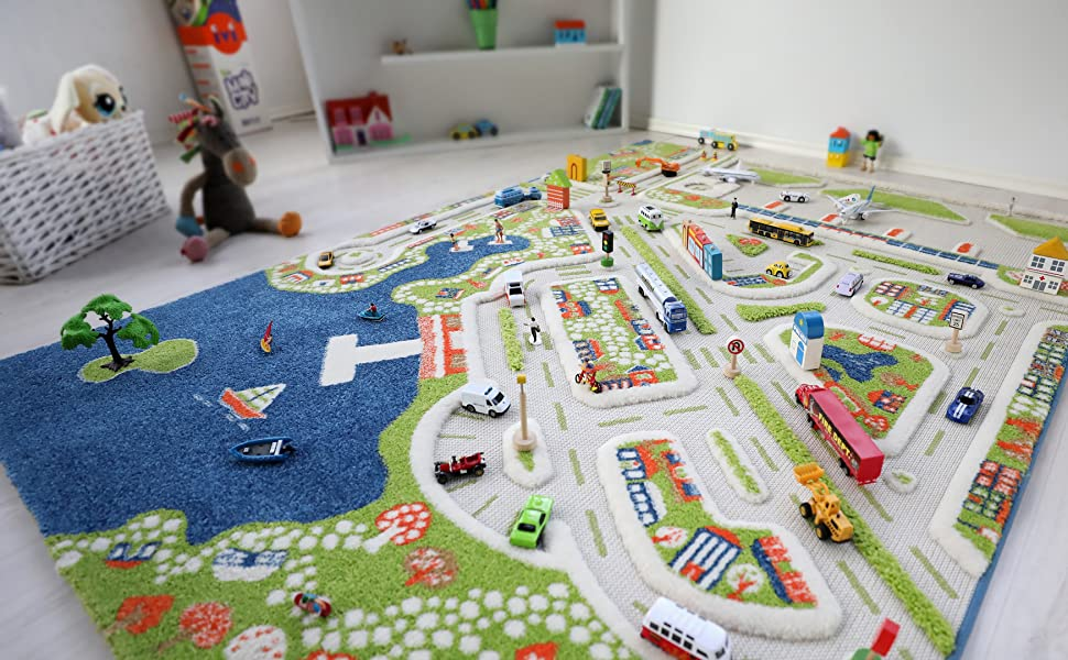 ivi mini city 3d play rug for kids room with road maps