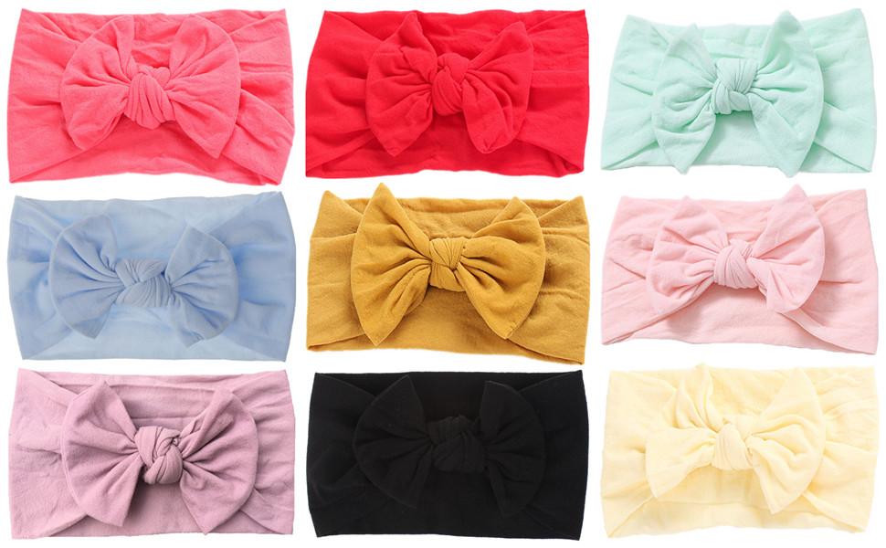 10Pcs Solid Nylon Elastic Soft Headband Baby Toddler Girls Women Hairband Loop