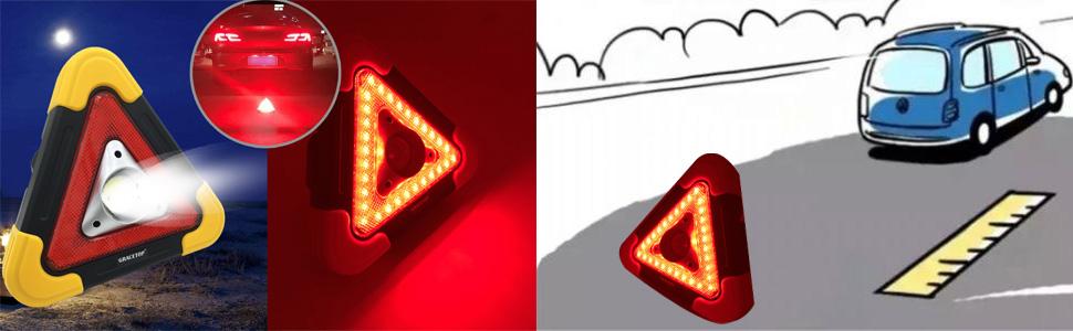 Road triangle warning light