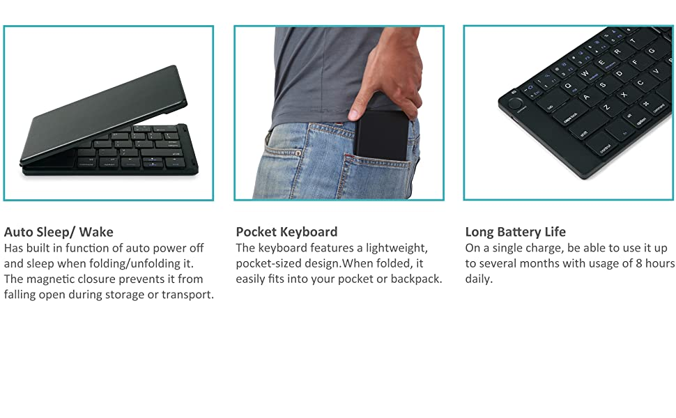 HLOIPYUR Folding Keyboard Bluetooth Portable Mini Folding Bluetooth 3.0 67Keys Universal Keyboard Folding Keyboard for Laptop