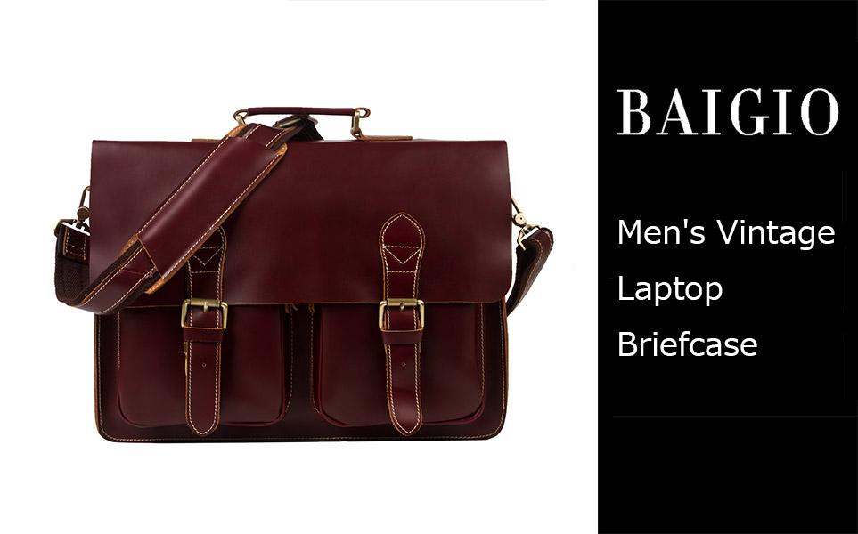 Amazon.com: Leather Office Briefcase Removeable Laptop Attache ...