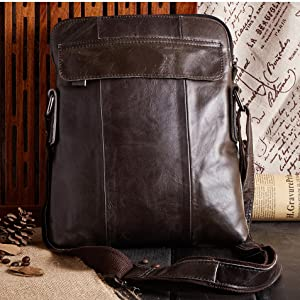 Amazon.com: Real Leather Shoulder Bag Small Cross Body Messenger ...