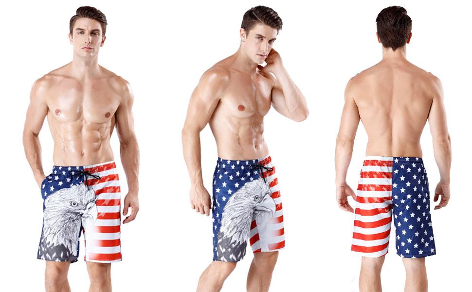 2b62f16aa7a Mens Stylish Swim Trunks Quick Dry Board Shorts American Flag ...