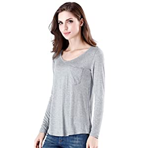 dcd1f4e5046e6c wirarpa Womens Soft Stretchy Long Sleeve T-Shirt Ladies Loose Casual ...