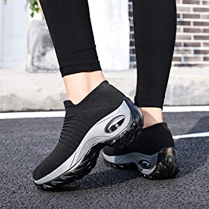 Women's Fashion Sneakers Slip On Mesh Air Cushion Walking Tennis Shoes Comfort Wedge Platform Loafer
