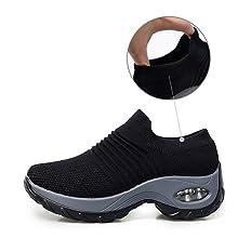 2413a12fc46bb Ablanczoom Women's Fashion Sneakers Slip On Mesh Air Cushion Walking Tennis  Shoes Comfort Wedge Platform Loafers