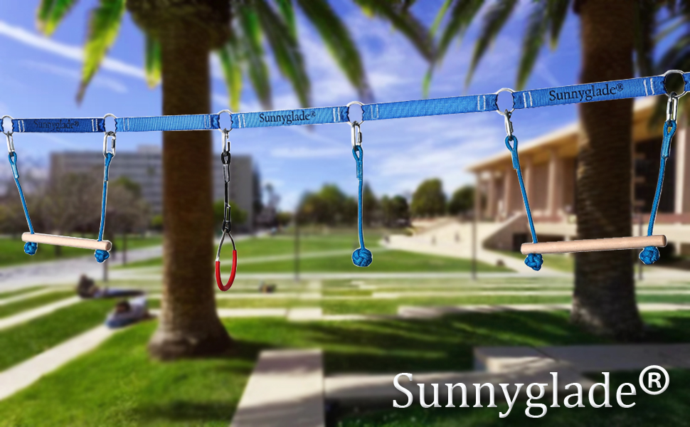 Sunnyglade Backyard Ninja Line Hanging Obstacle Course/Slackers Ninja Line Accessories for Kids - 40ft Slackline Kit with 2 Bars, 3 Fists & 2Rings