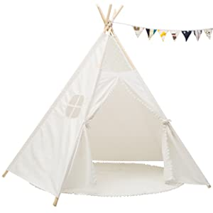 Sunnyglade 6 Teepee Kids Tent with 25FT Little Star Light and Cotton Mat //Indoor Outdoor Children Indian Play Tent 5 Wooden Poles Canvas Tipi with Carry Bag /& Random Color Flag Childrens Day Gift