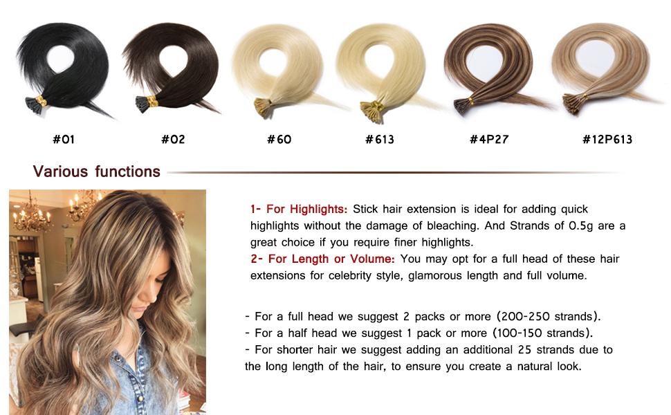 b374e732c31 Amazon.com : Pre Bonded Keratin Stick/I Tip Remy Human Hair ...