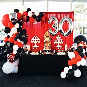 Casino Party Decoration Supplies Set Casino Balloons Black Red White Latex Balloon With Casino Confetti For Casino Theme Party Las Vegas Themed