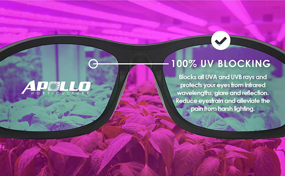 these glasses block 100% of UVA and UVB rays, protects from infrared and reduces eyestrain