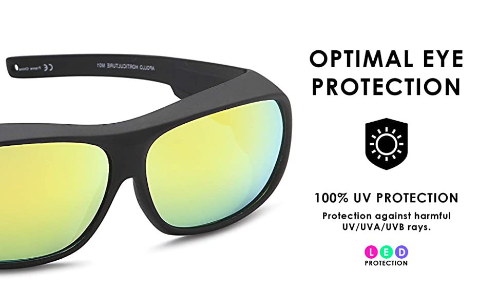 apollo grow light glasses are made for optimal protection from UV, UVA and UVB rays