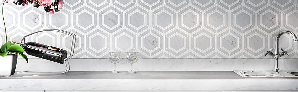 carrara hexagon tile 5