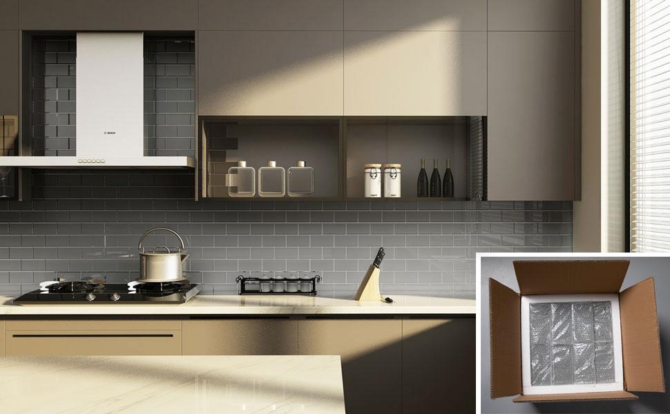 Diflart Glass Subway Tiles 3 X 6 Inch Grey Backsplash For Kitchen Bathroom Wall 5 Sqft 40 Pieces Amazon Com