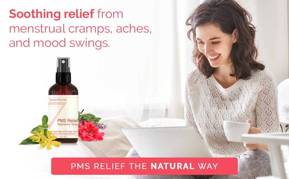 PMS Magnesium Relief Spray - Natural Menstrual Cramp Relief And PMS Support  With Ionic