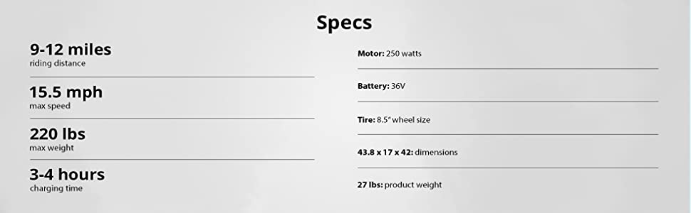 gxl specs and information for electric scooter