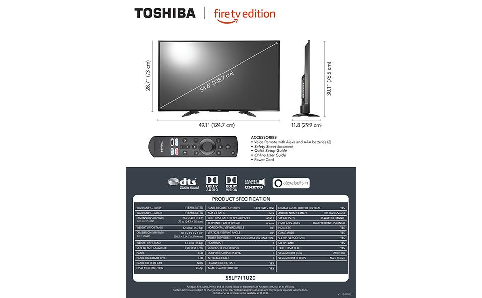 Amazon Com Toshiba 55lf711u20 55 Inch 4k Ultra Hd Smart