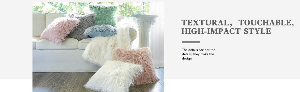 Faux Fur Throw Pillows Various Color