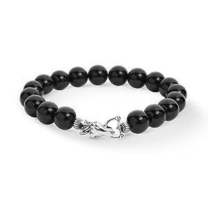 sterling silver gemstone black agate stone beaded bracelet horse clasp link men jewelry polish cool