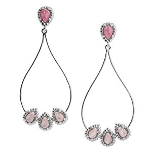 sterling silver gemstone dangle drop earring rope filigree brilliant signature polish scroll cute